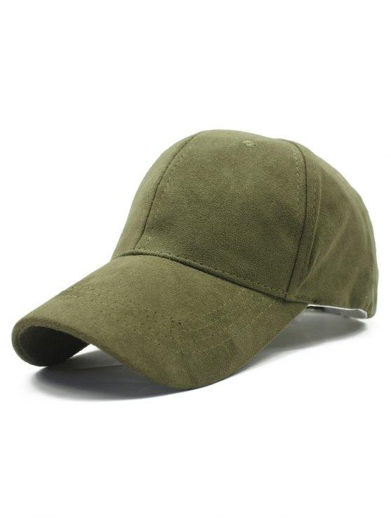 Sólido de color gamuza sintética sombrero de béisbol - Verde del ejército