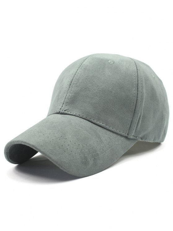 chic Solid Color Faux Suede Baseball Hat - LIGHT GRAY