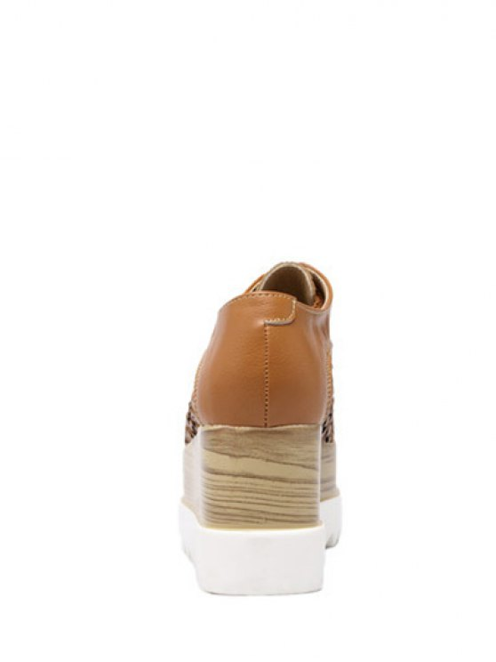 Hollow Out Lace-Up  Platform Shoes - LIGHT BROWN 39 Mobile