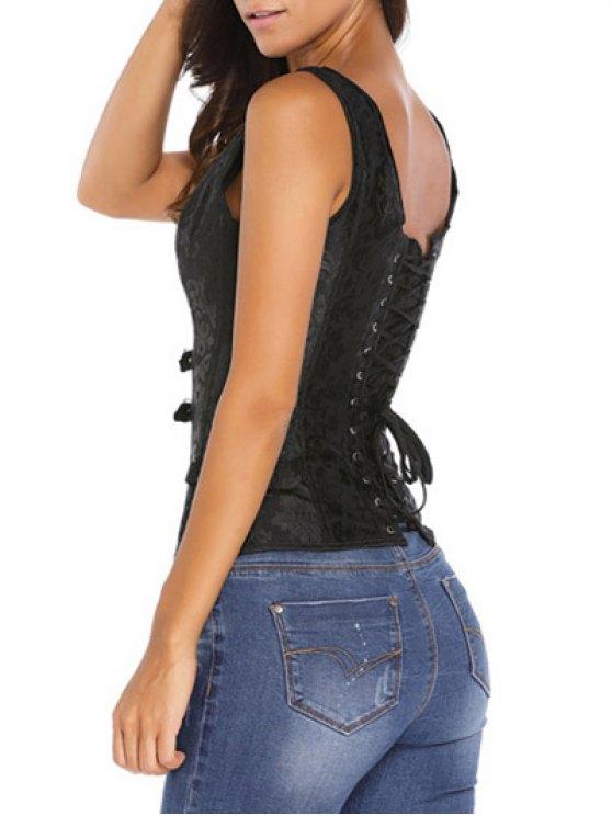 Jacquard V Neck Back Lace Up Corset - BLACK 2XL Mobile