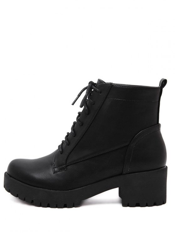 Black Lace-Up Chunky Heel Short Boots - BLACK 39 Mobile