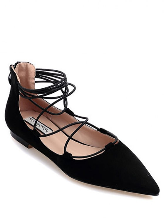 buy Black Criss-Cross Pointed Toe Flat Shoes - BLACK 38