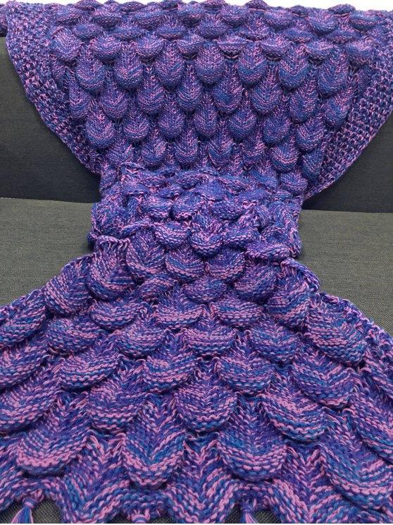 Fish Scale and Tassel Design Mermaid Blanket - VIOLET  Mobile