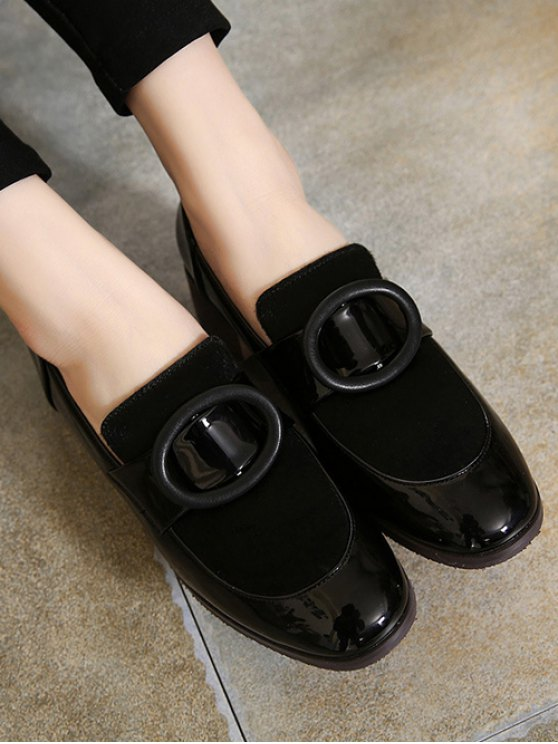 Splice Round Buckle Chunky Heel Pumps - BLACK 38 Mobile