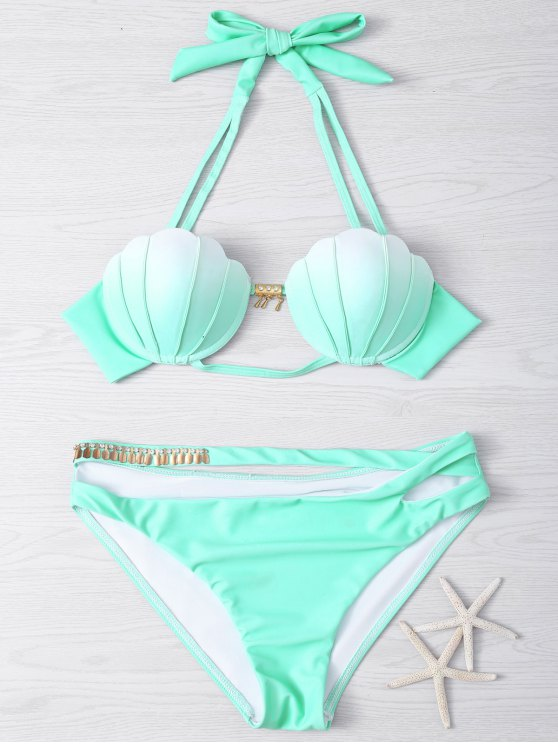 Metal Design Halter Underwire Seashell Bikini - Vert clair S