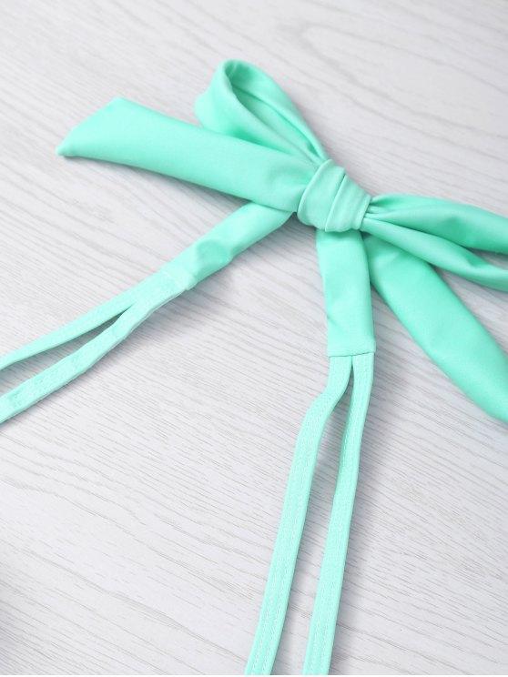 Metal Design Halter Underwire Seashell Bikini - LIGHT GREEN S Mobile