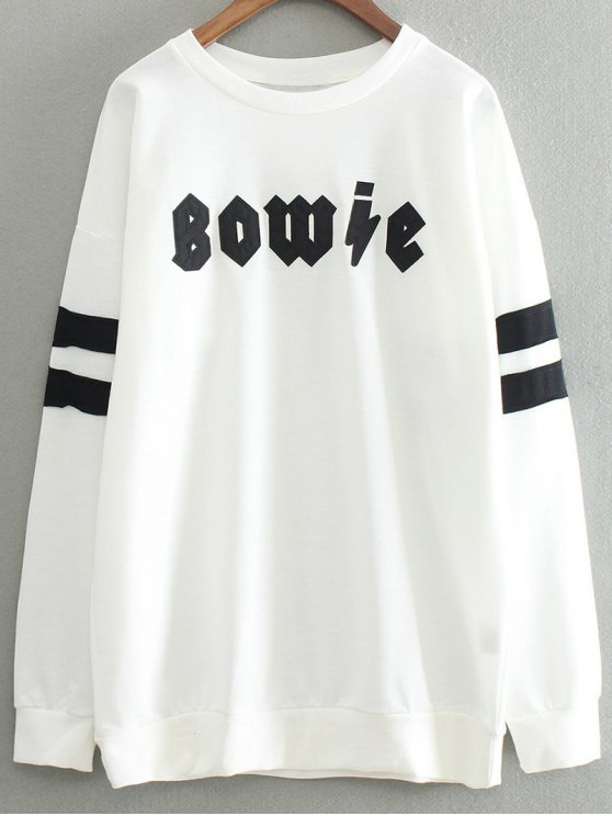 Lettre Patch col rond Sweat-shirt - Blanc TAILLE MOYENNE