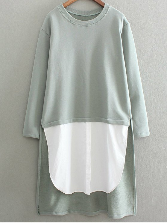 High Low Spliced Longline Sweatshirt - SAGE GREEN ONE SIZE Mobile