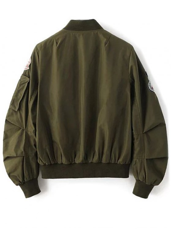 Patch Design Stand Neck Zipper Up Jacket - ARMY GREEN L Mobile