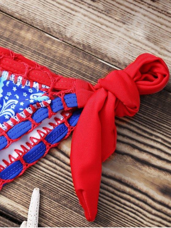 Print Crocheted Halter String Bikini Set - BLUE L Mobile