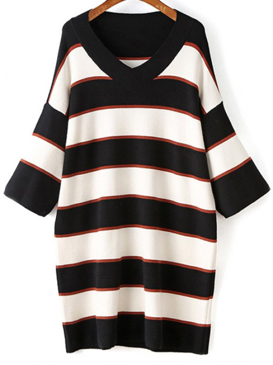 fashion Striped V-Neck Sweater Dress - WHITE ONE SIZE