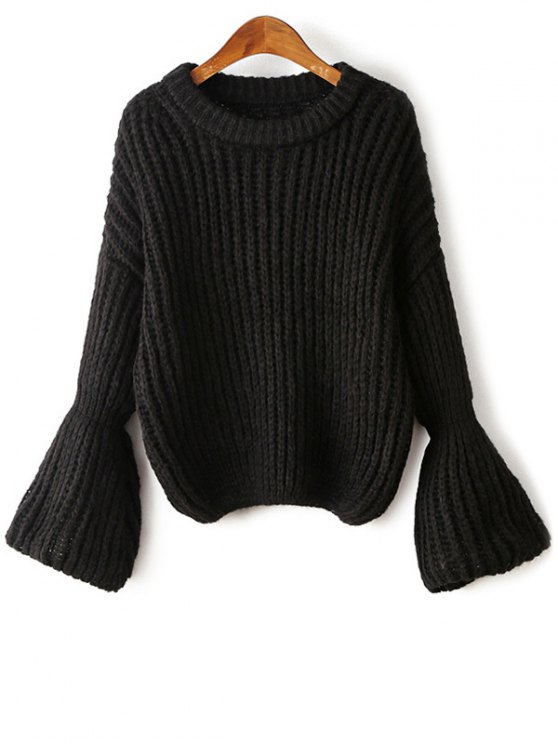 affordable Bell Sleeve Chunky Sweater - BLACK ONE SIZE