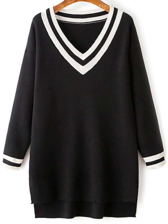 unique V-Neck Side Slit Sweater Dress - BLACK ONE SIZE