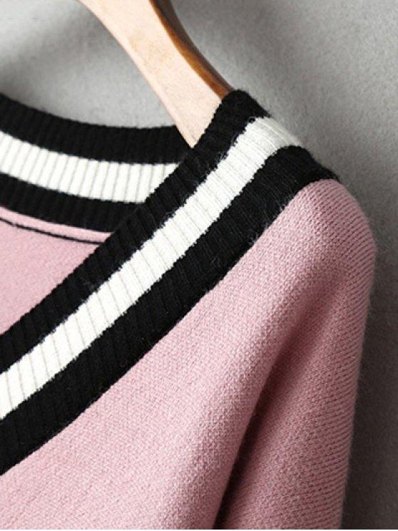 V-Neck Side Slit Sweater Dress - BLACK ONE SIZE Mobile
