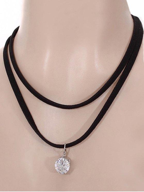 Collier avec pendentif style punk multicouches bande noire strass pour les femmes - Noir