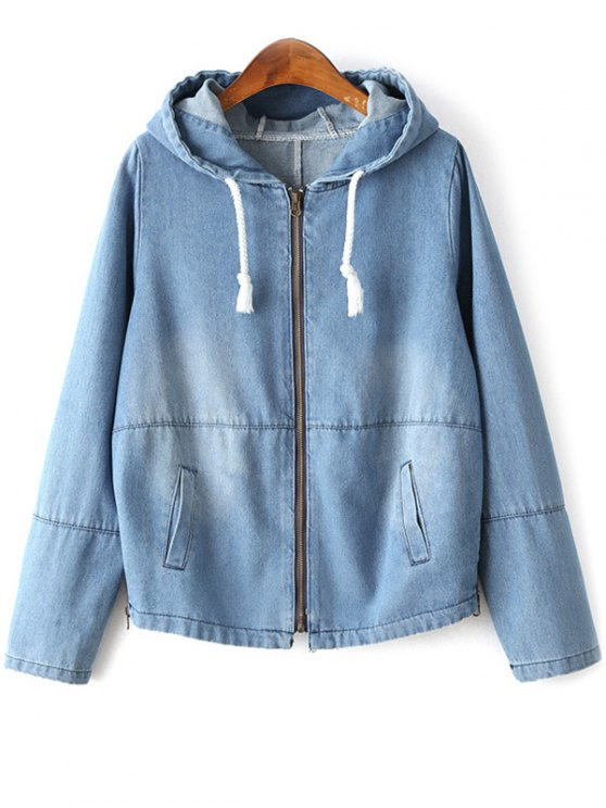 Zipped Hooded Denim Jacket - LIGHT BLUE XL Mobile