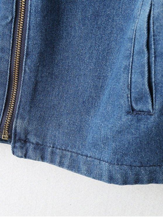 Zipped Hooded Denim Jacket - LIGHT BLUE M Mobile