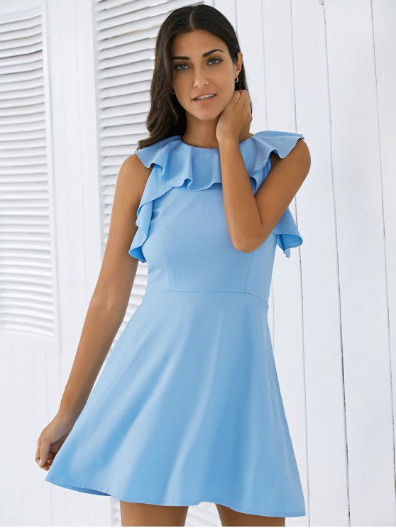 Flounce A Line Dress - BLUE L Mobile