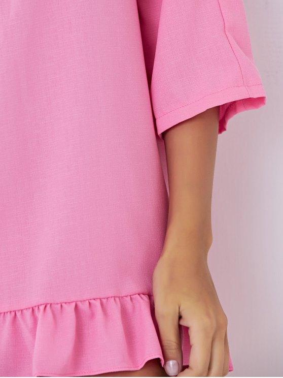 Backless Tassels Shift Dress - PINK L Mobile