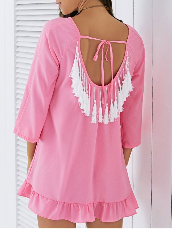 online Backless Tassels Shift Dress - PINK S