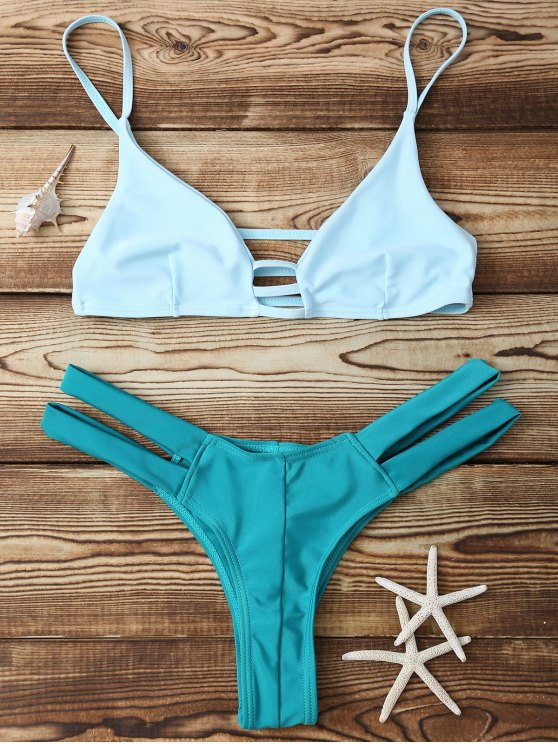 online Bicolor Banded Bikini Set - GREEN M