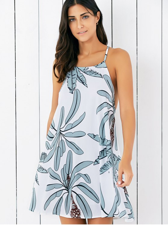 Tropical Spaghetti Strap Backless Dress - WHITE S Mobile