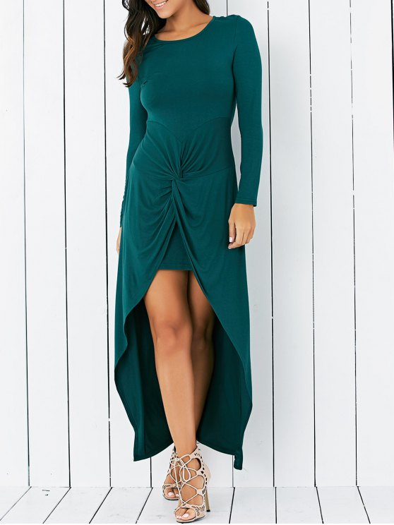 Wrapped Irregular Scoop Neck Long Sleeve Dress - GREEN M Mobile