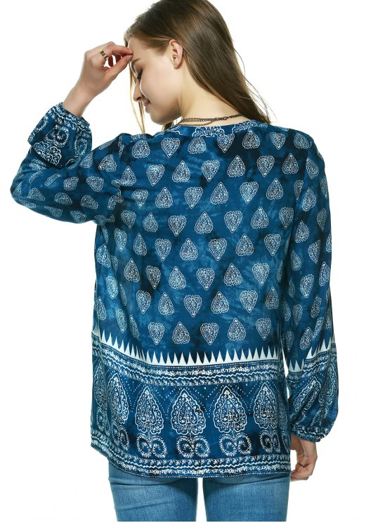 Elegant Plunging Neck Tribal Print Blouse - BLUE S Mobile