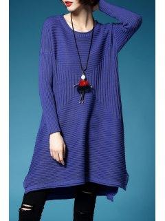 Une Robe Pull Ligne Mini - Bleu-violet