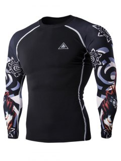 3D Wolf Head Print Round Neck Long Sleeves Compression T-Shirt For Men - Black M