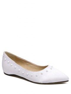 Satin Rivet Pointed Toe Flat Shoes - White 38