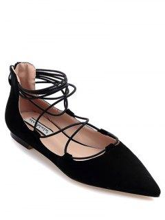 Black Criss-Cross Pointed Toe Flat Shoes - Black 38