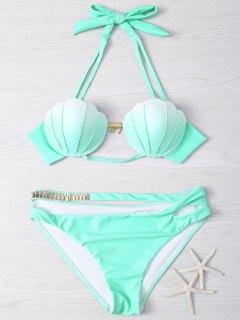 Metal Design Halter Underwire Seashell Bikini - Light Green M
