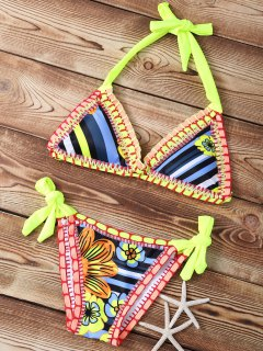 Striped Crocheted Halter String Bikini Set - Neon Bright Green S