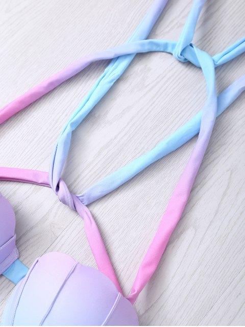 shops Halter Ombre Underwire Seashell Bikini Set - COLORMIX M Mobile