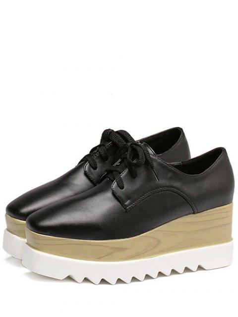 latest Square Toe Lace-Up Platform Shoes - BLACK 38 Mobile
