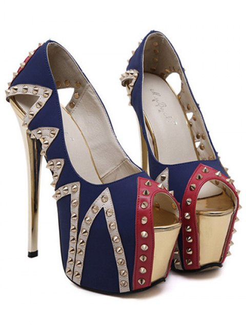 hot Rivet Platform Stiletto Heel Peep Toe Shoes - BLUE 37 Mobile