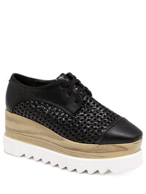 ladies Hollow Out Lace-Up  Platform Shoes - BLACK 38 Mobile