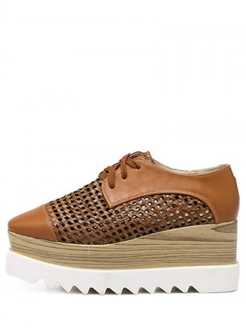 buy Hollow Out Lace-Up  Platform Shoes - LIGHT BROWN 38 Mobile