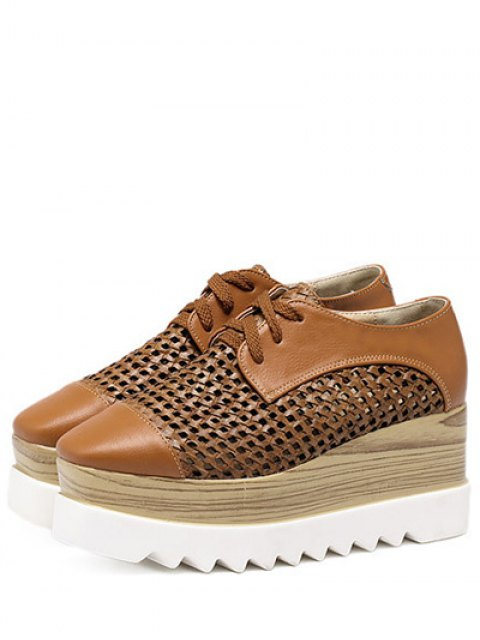 affordable Hollow Out Lace-Up  Platform Shoes - LIGHT BROWN 37 Mobile