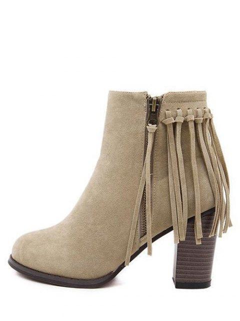 latest Fringe Side Zip Chuny Heel Ankle Boots - KHAKI 39 Mobile