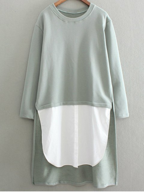 fancy High Low Spliced Longline Sweatshirt - SAGE GREEN ONE SIZE Mobile