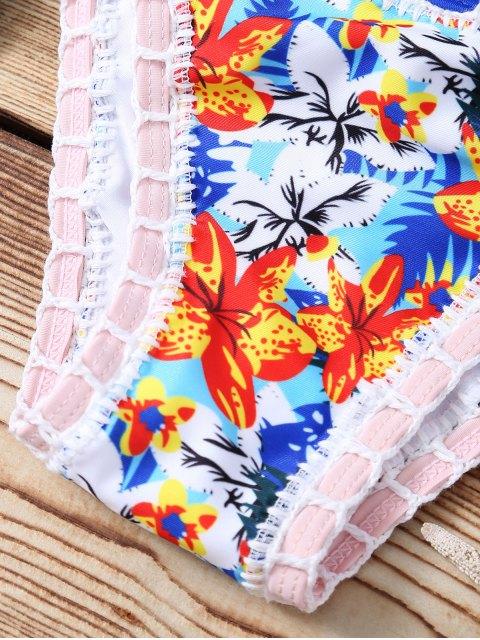 new Floral Print Crocheted Halter String Bikini Set - AZURE M Mobile