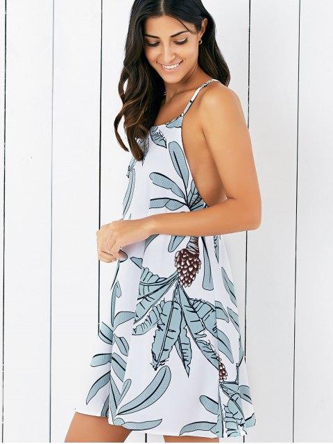 lady Tropical Spaghetti Strap Backless Dress - WHITE S Mobile