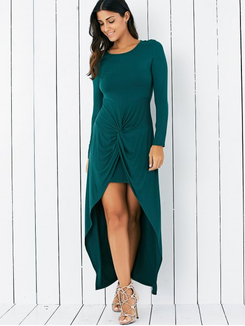 affordable Wrapped Irregular Scoop Neck Long Sleeve Dress - GREEN M Mobile