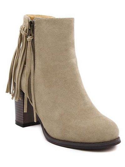 Fringe Side Zip Chuny Heel Ankle Boots - KHAKI 39 Mobile