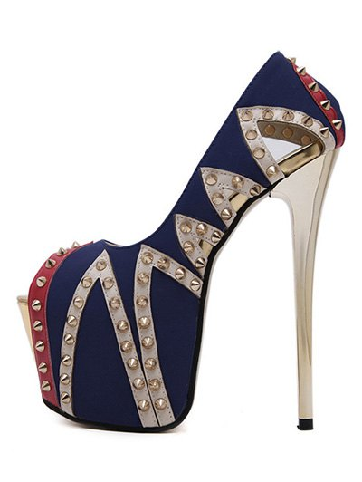 Rivet Platform Stiletto Heel Peep Toe Shoes - BLUE 39 Mobile