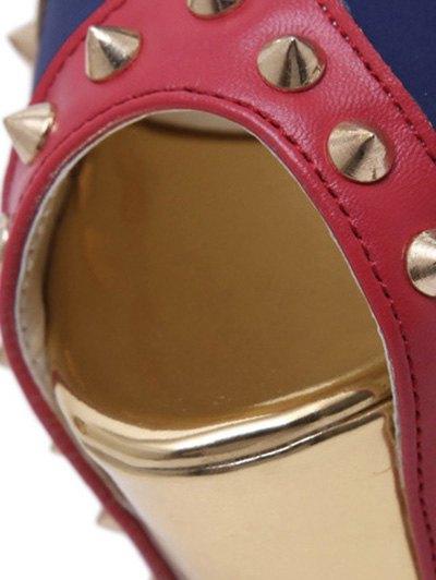 Rivet Platform Stiletto Heel Peep Toe Shoes - BLUE 37 Mobile