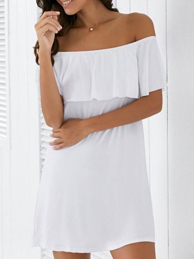 Flounce Off The Shoulder Shift Dress - White