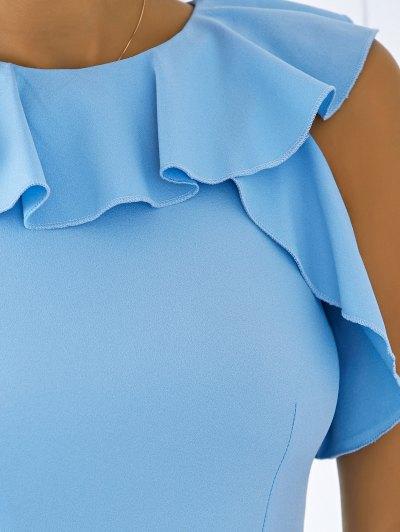 Flounce A Line Dress - BLUE L Mobile